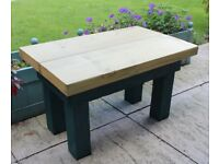 Sturdy wooden garden bench or table made from reclaimed wood