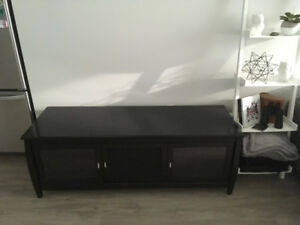 Black TV Stand, Glass Doors in Lake Country BC