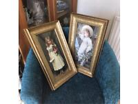 Victorian girls holding flowers print pictures gold framed
