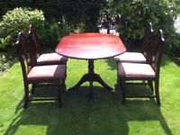 Mahogany Oval Extending Dining Table & 4 Chairs