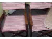 Two Hardwood folding chairs , directors folding canvas garden chairs