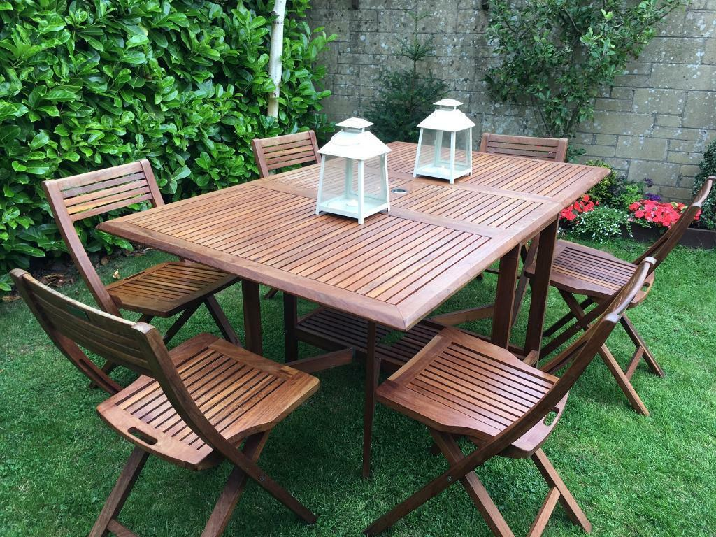 6 seater patio garden table and chairs teak hardwood - Garden Furniture Yate