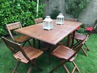 6 seater patio garden table and chairs - teak hardwood