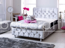 """BED CRAFT** """"THE SLEIGH"""" VELVET KING SIZE FRAME**AVAILABLE IN VARIOUS COLOURS"""
