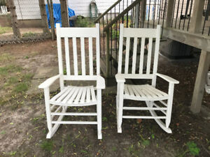 Two white porch rocking chairs for sale $100 for the pair