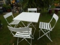 folding metal garden patio table and four chair