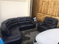 Leather Sofa with Electric Reclining Armchair