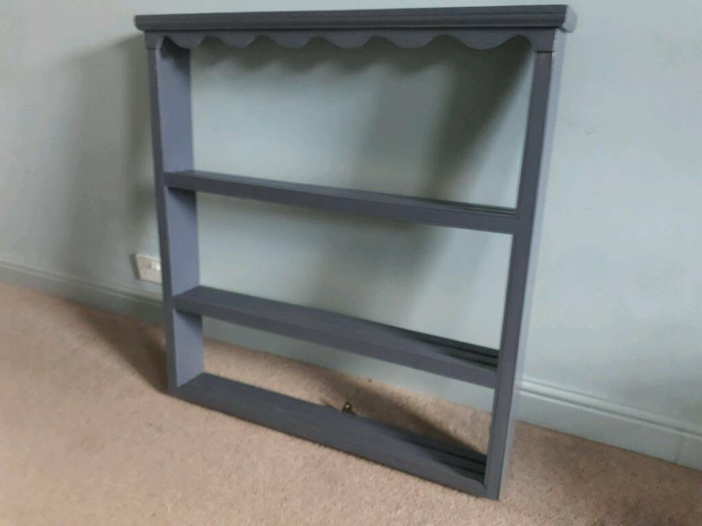 Victorian painted large pine wall shelf for kitchen to display crockery?
