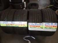 MATCHING PAIRS 235 35 19 and 255 30 19 BRIDGESTONE R/FLATS ALL 6mm TREAD £90 PAIR SUP & fittd 7dys