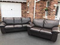 3 & 2 dark Brown Harvey's full leather sofas suite