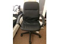Comfortable sturdy faux leather black adjustable desk/office chair