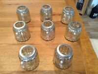 8 very pretty, shiny silver coloured crackled glass tea light holders, perfect for weddings