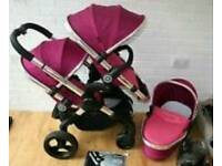 Icandy Peach 3 Fuchsia double buggy With Carrycot and Car Seat Maxi cosi I candy