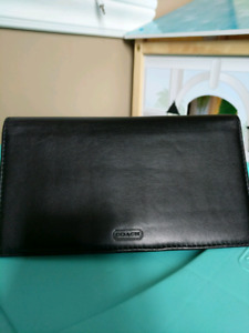 Black Leather Coach Check Book Holder