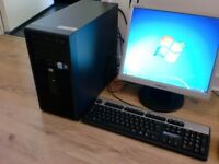 hp desktop pc computer & monitor keyboard mouse microsoft office