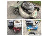Job lot lawn mower, 240v air compressor, Honda generator