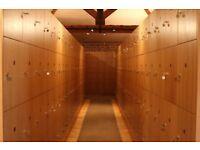 Bank of Four Beautiful Wooden Oak Veneer Lockers.