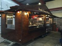 Nearly New 20Ft Multi Use Catering Trailer, Wooden Clad with Shingle Roof ideal for Large Events