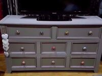 MASSIVE SOLID WOOD SIDEBOARD LARGE SPACIOUS CHEST OF DRAWER X 2 -LOTS OF STORAGE TV UNIT LAMP TABLE