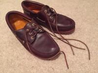 Timberland 3 eye classic lug men's boat shoes red brown leather size 10