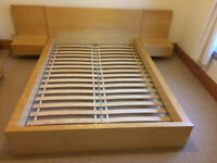 Ikea Double Bed Frame with Adjoining Bed Side Tables