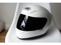 Shoei White Crash Helmet XR1000 Small Clear & Black Visors +Headset XR 1000 Motorbike Full Face £250