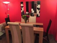 Solid Wood dining room table with dark glass runner & 4 cream high back chairs brand new not used