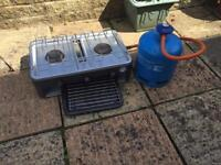 Camping Stove with Grill and Gas bottle (over half full)