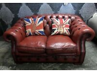 Beautiful Chesterfield 2 Seater Hump Low Back Sofa in Oxblood Red Leather - UK Delivery
