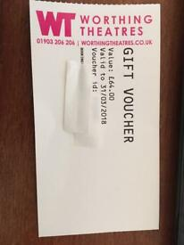 Worthing Theatres gift voucher £64 value