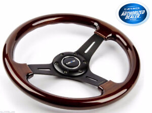 NRG Steering Wheel Classic Wood Grain 3 Spoke black 330mm ST-015
