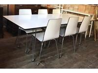 John Lewis White Lacquered Extending Dining Table With Six Chairs