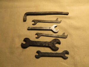 (5) vintage 1940's OPEN END WRENCHES & hand made Screw Driver
