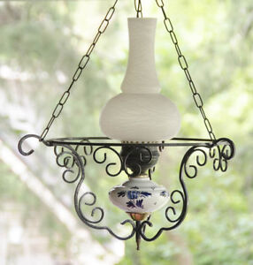 Vintage Delft Blue and wrought iron hanging lamp