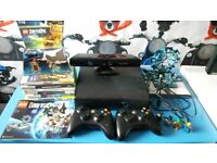 Xbox 360 console with 2 wireless controllers kinect lego dimensions with 4 figures and 6 games
