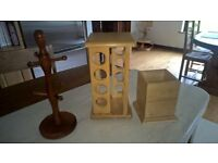 Wooden revolving spice rack, utensil holder and tumbler holder