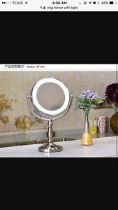 Vanity ring mirror with light