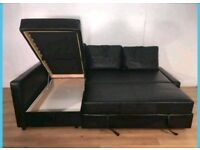 Black Leather Corner Sofa bed. Excellent condition.Only £300. *Free Delivery & Free Assembly*