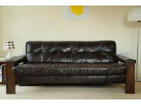 Retro Leather Sofa. Amazing Vintage Leather and Wood 3 Seater Sofa