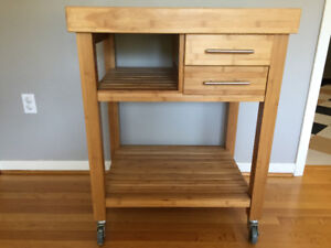 Kitchen trolley table on casters