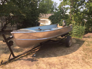 Thornes 18' aluminum boat w/trailer, motor, cover and 2 anchors