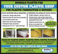 Plastic Welding Repairs, Fabrication and Plastic Sheets Sales