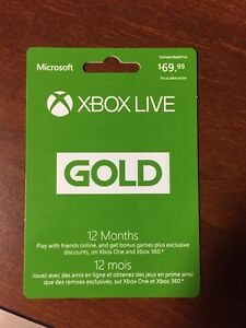 Xbox live gold 12 month membership!