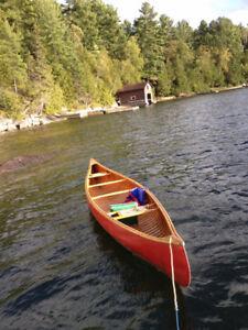 16' Cedar Strip Chestnut canoe