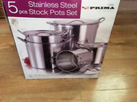 Prima 5 piece Stainless Steet Stock Pot Set Boxed