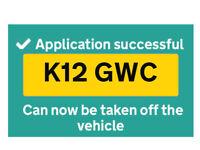 Private reg plate k12 gwc