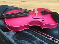 3/4 violin inc bow and case, pink