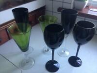 Wine glasses and glass bowl