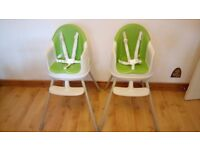 TWO Keter Multi Dine Highchair's in Green - Great condition