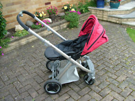Oyster Pushchair - Red / Black Rain Cover
